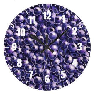 Blueberry power Fresh berry  illustrations Large Clock