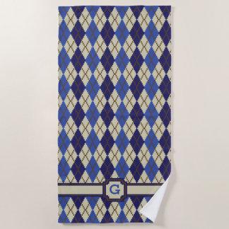 Blueberry Scone Argyle Beach Towel
