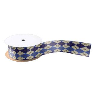 Blueberry Scone Argyle Ribbon Satin Ribbon