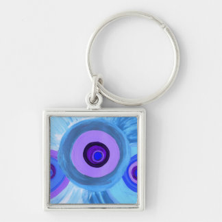 Blueberry Sherbet Silver-Colored Square Keychain