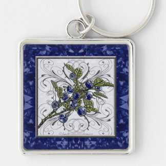 Blueberry Silver-Colored Square Keychain