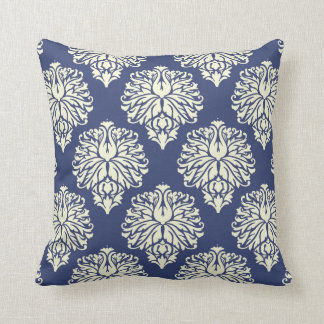 Blueberry Southern Cottage Damask Throw Pillow
