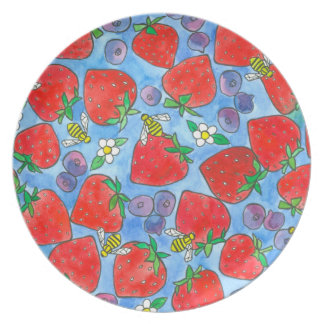 Blueberry Strawberry Bee Watercolor Red White Blue Dinner Plates