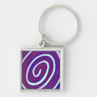 Blueberry Swirl Silver-Colored Square Keychain