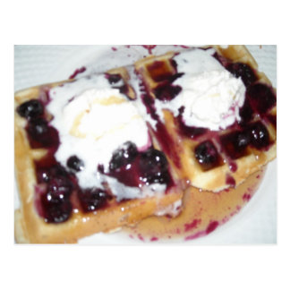 Blueberry Waffles with Whipped Cream Postcard