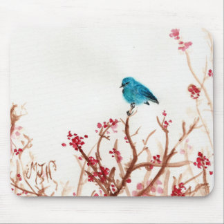 Bluebird and Berries Computer Mouse Pad