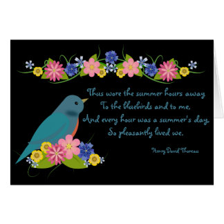 Bluebird and Flowers Happy Retirement Card