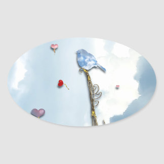 Bluebird and Hearts Oval Sticker
