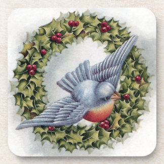 Bluebird and Holly Wreath Vintage Christmas Coasters