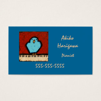 bluebird and keyboard pianist business card