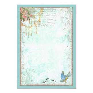 """Bluebird and Pink Roses RSVP or Table Card 3.5"""" X 5"""" Invitation Card"""