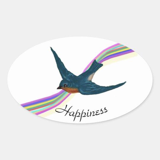 Bluebird and Rainbow, Happiness Oval Sticker