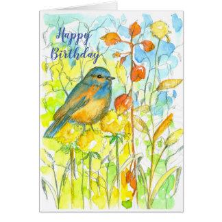 Bluebird Autumn Leaves Happy Birthday Card