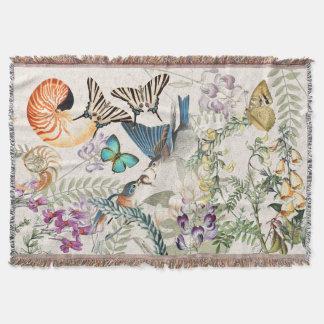 Bluebird Bird Butterfly Shell Floral Throw Blanket