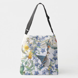 Bluebird Bird Narcissus Borage Floral Tote Bag