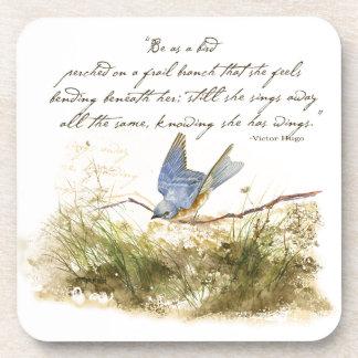 Bluebird Bird on Branch Victor Hugo Poem Coaster