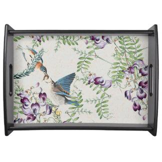 Bluebird Birds Animals Flowers Serving Tray