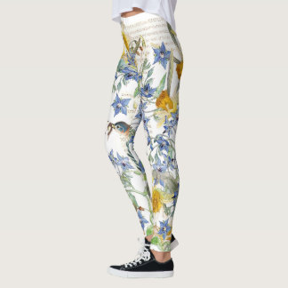 Bluebird Birds Floral All Over Print Leggings