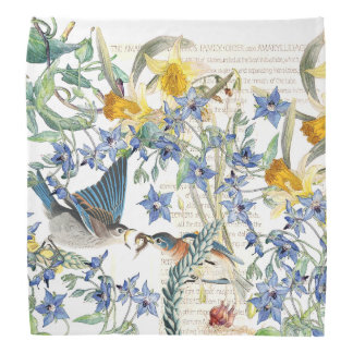 Bluebird Birds Narcissus Borage Flowers Bandana