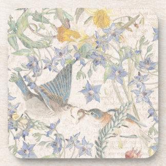 Bluebird Birds Narcissus Flowers Coaster