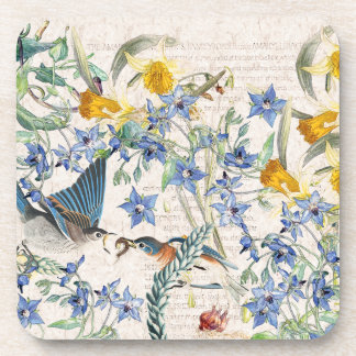 Bluebird Birds Narcissus Flowers Coaster