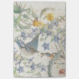 Bluebird Birds Narcissus Flowers Post It Notes