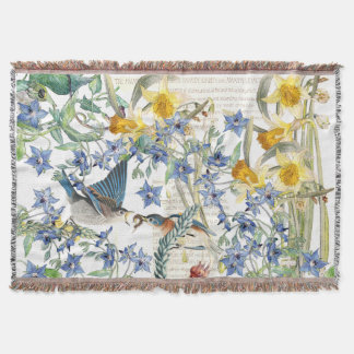 Bluebird Birds Narcissus Flowers Throw Blanket
