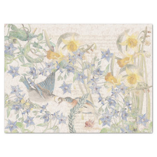 Bluebird Birds Narcissus Flowers Tissue Paper