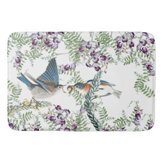 Bluebird Birds Wildflower Flowers Bath Mat