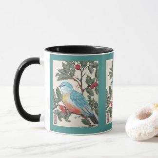Bluebird  & Cherries Mug Teal Black Oriental Style