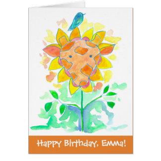 Bluebird Giraffe Custom Name Happy Birthday Card