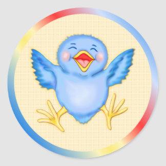 Bluebird Happiness Round Sticker