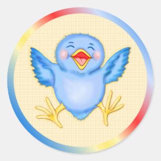 Bluebird Happiness Round Sticker