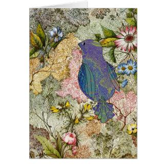 Bluebird in a Garden Card