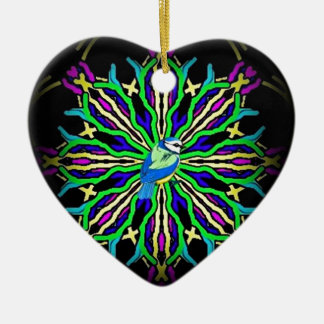 Bluebird in a spiral kaleidoscope girt collection ceramic ornament