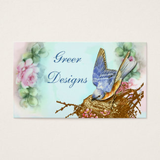 Bluebird in Nest Pink Roses Business Cards
