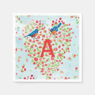 Bluebird Love Birds Floral Heart Monogram Disposable Napkin