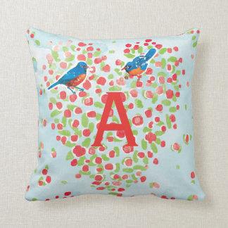 Bluebird Love Birds Floral Heart Monogram Throw Pillow