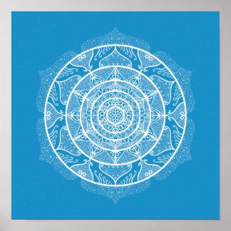 Bluebird Mandala Poster