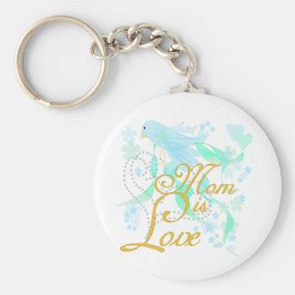 Bluebird Mom is Love Keychain