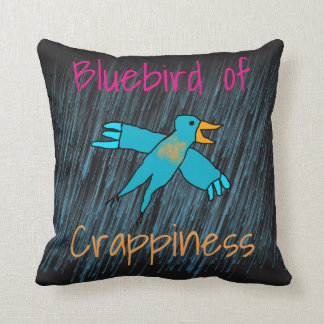 Bluebird of Crappiness Personalized Throw Pillow