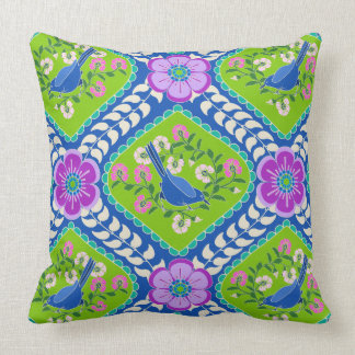 Bluebird of Happiness Bright Bohemian Pillow