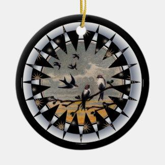 Bluebird of Happiness Ceramic Pendant Round Ceramic Ornament