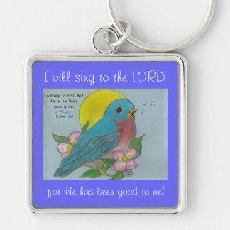 Bluebird of Happiness w/ Psalm 13:6 Keychain