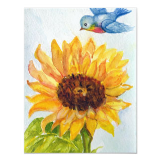 "Bluebird of Happiness with Sunflower 4.25"" X 5.5"" Invitation Card"