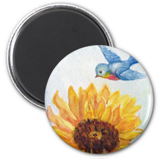Bluebird of Happiness with Sunflower Magnet