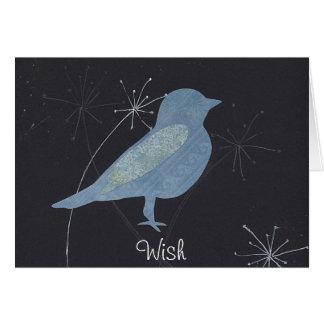 Bluebird of Wishfulness Collage Art Card