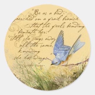 Bluebird on Branch & Victor Hugo Quote Classic Round Sticker