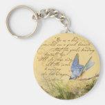 Bluebird on Branch & Victor Hugo Quote Keychains