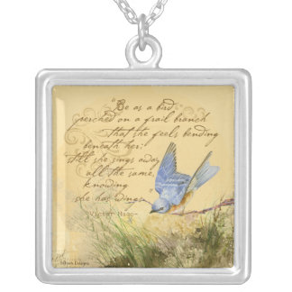 Bluebird on Branch Victor Hugo Quote Necklace